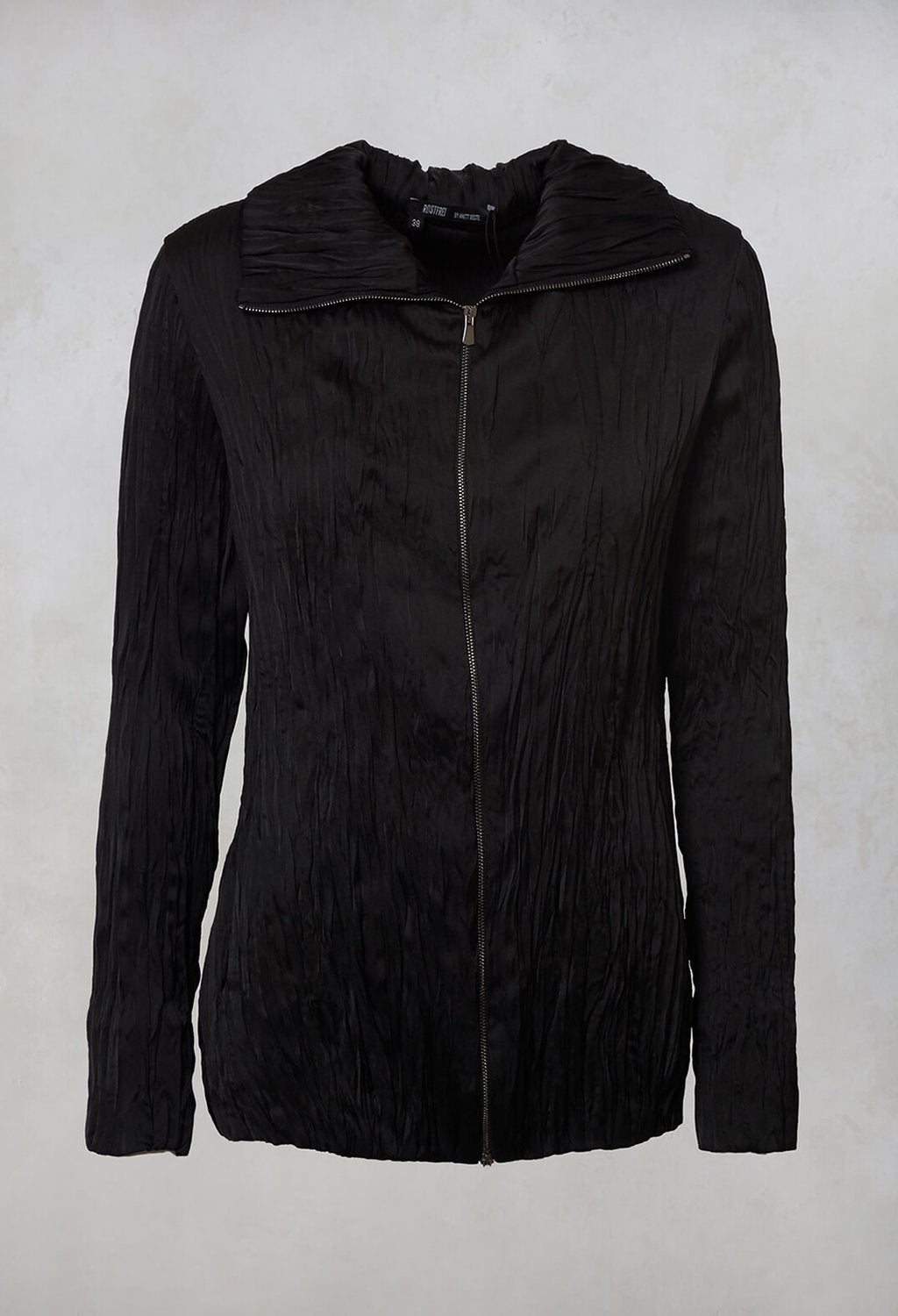 Crinkled Zipped Up Jacket in Black