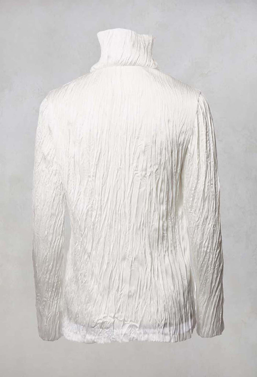 Crinkled Zipped Up Jacket in White