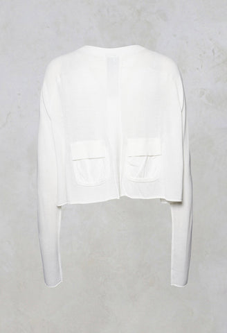 Cropped Cardigan in Offwhite