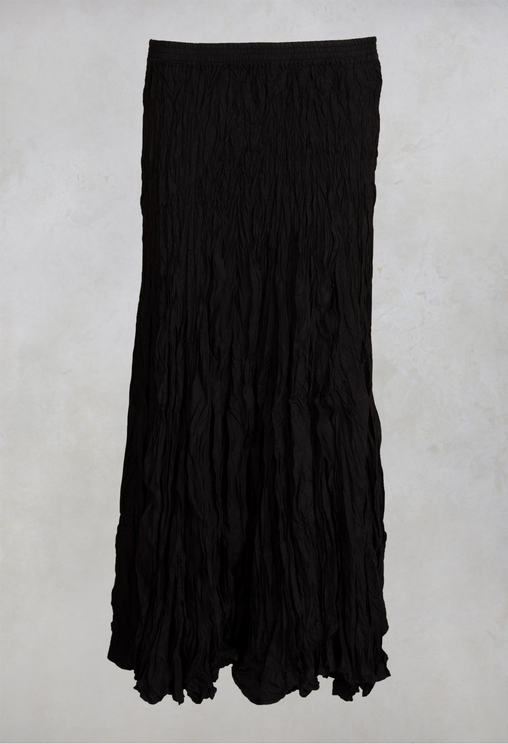 Crushed Silk Maxi Skirt in Kaviar
