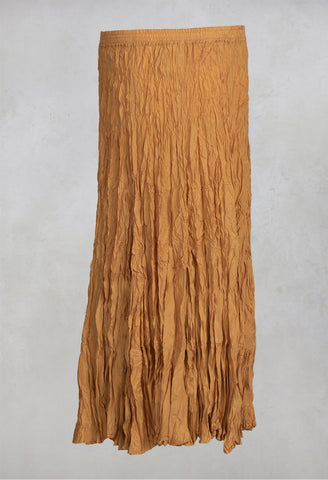 Crushed Silk Maxi Skirt in Kerze