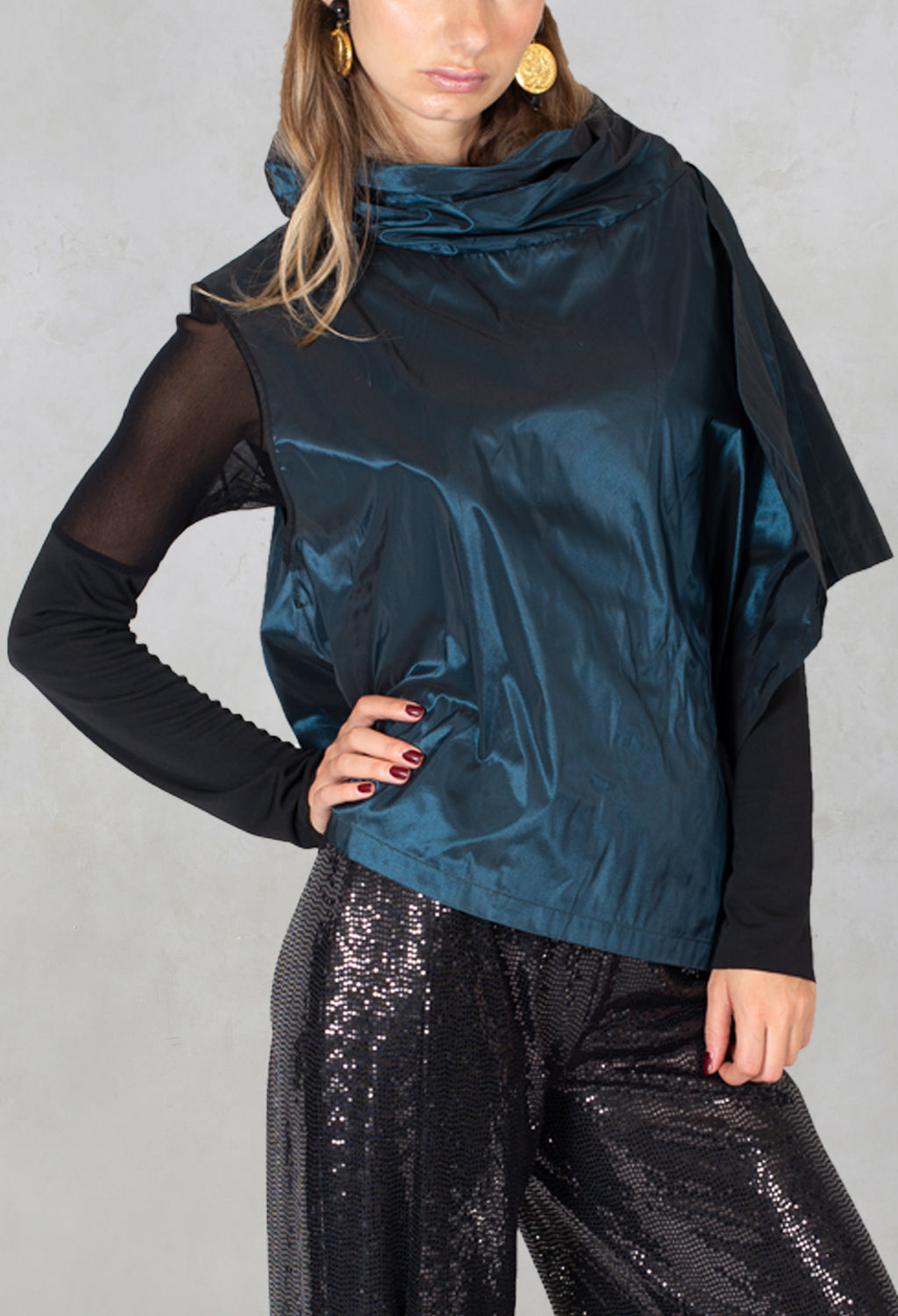 Sleeveless Boxy Top Maci1 in Dark Green