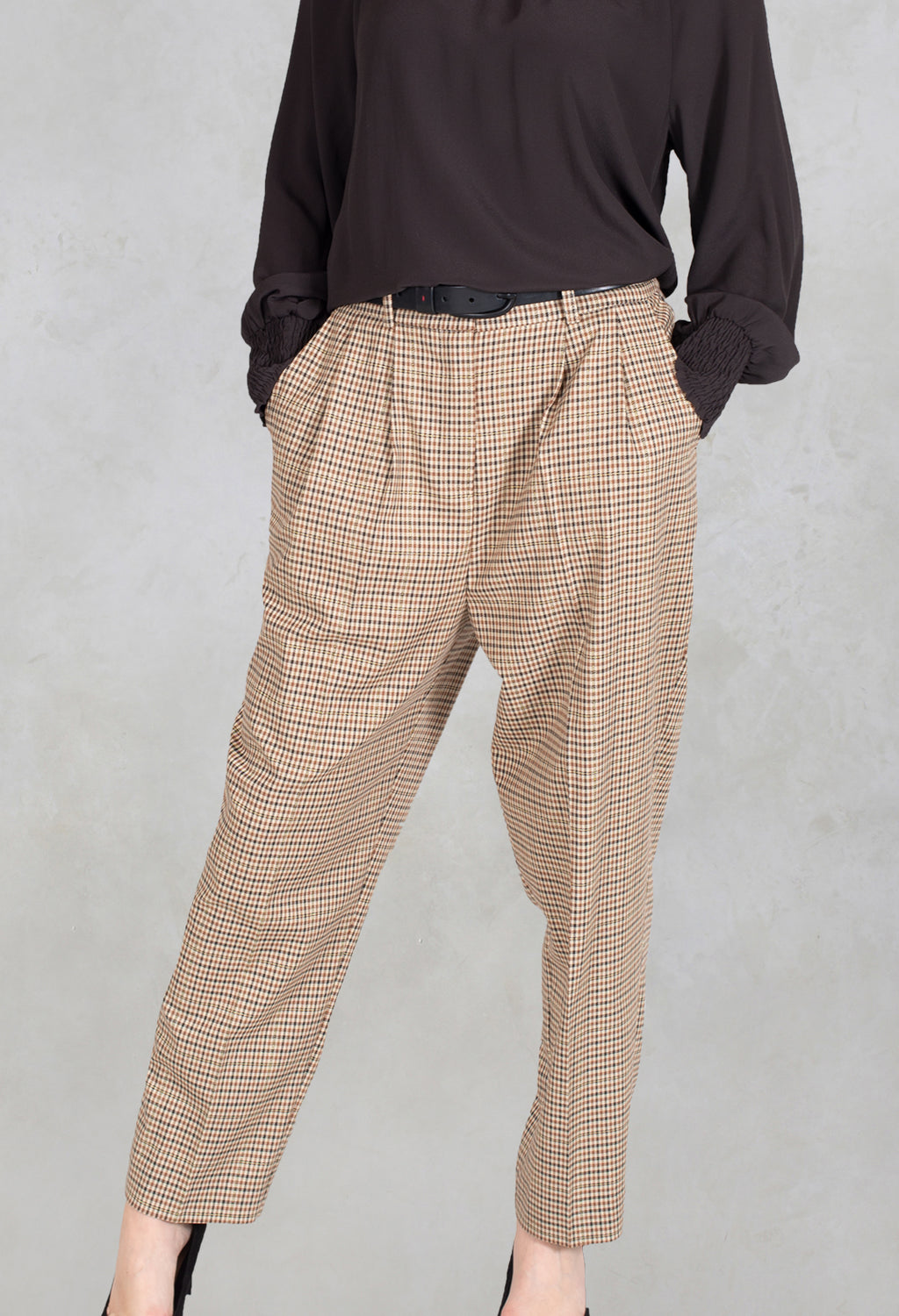 Tailored Dogtooth Trousers in Beige