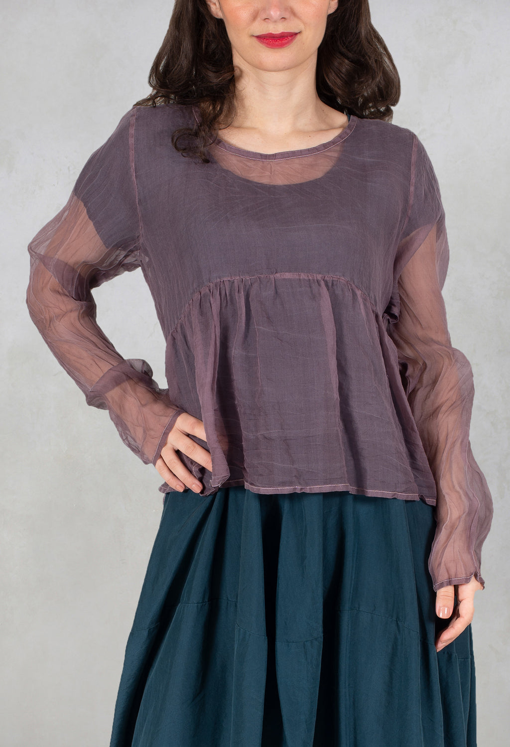 Sheer Peplum Top in Baer