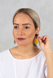 Doublefaced Geometrical Eardrops in Blue / Yellow