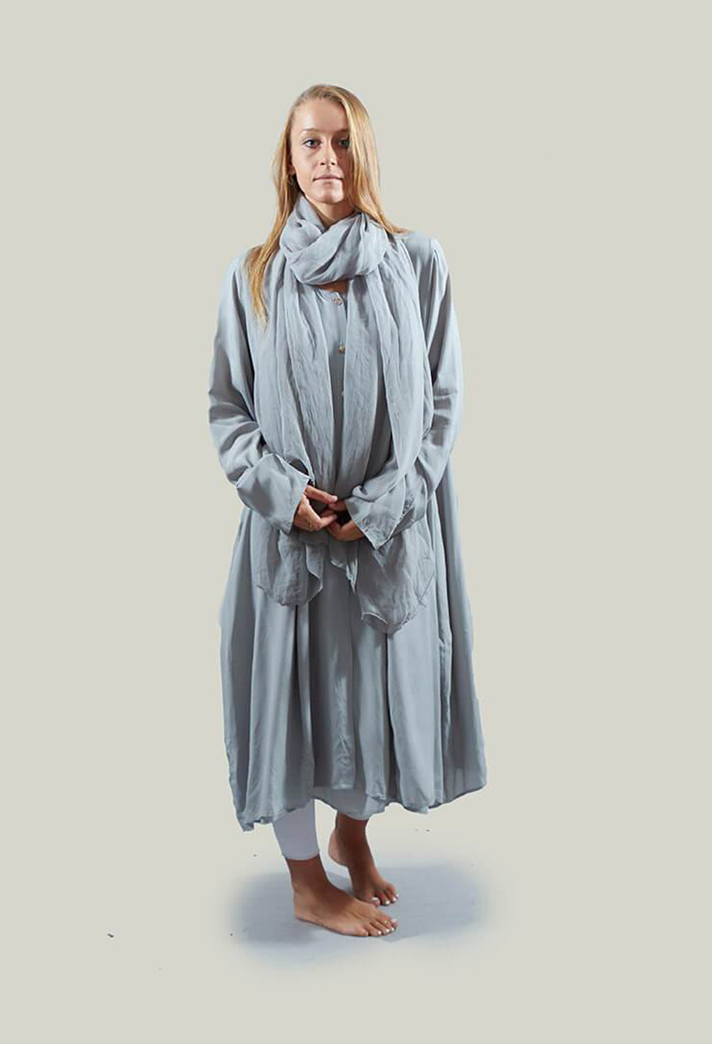 Lightweight Oversized Overcoat with Button Front in Poe