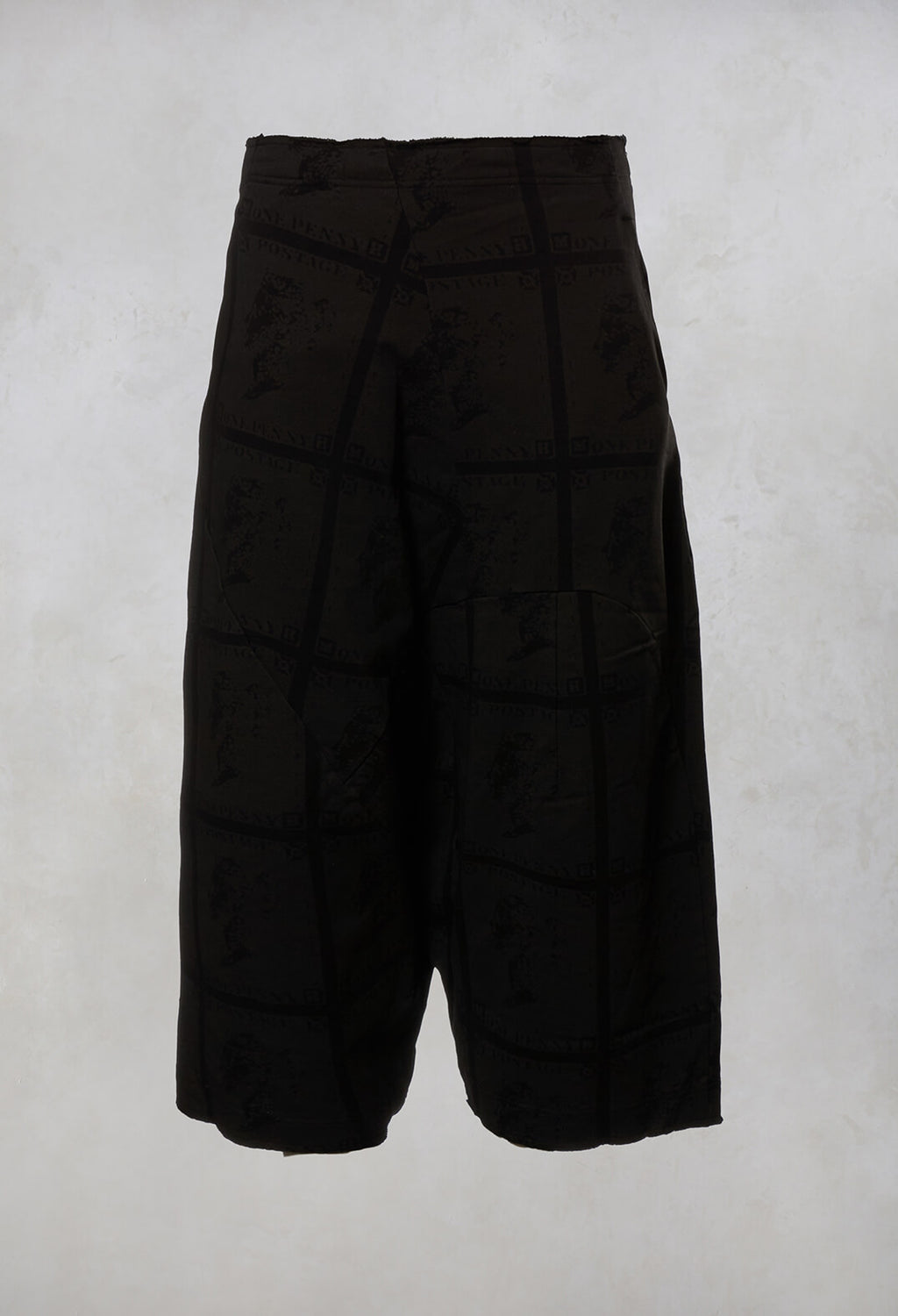 Drop Crotch Trousers in Black Print