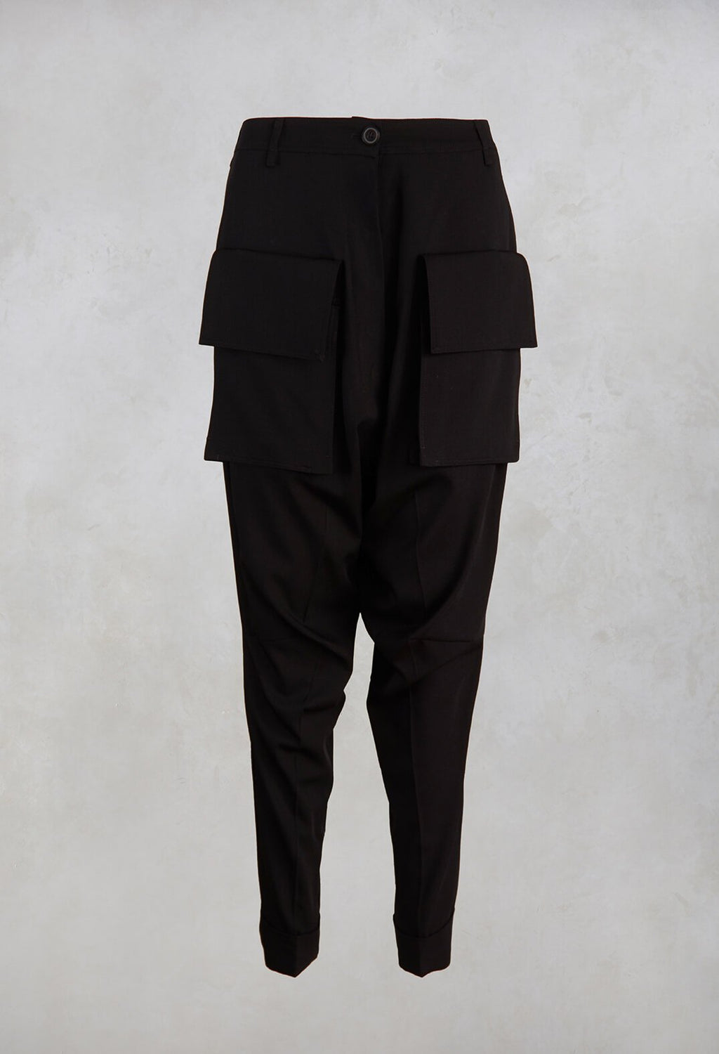 Drop Crotch Trousers in Black
