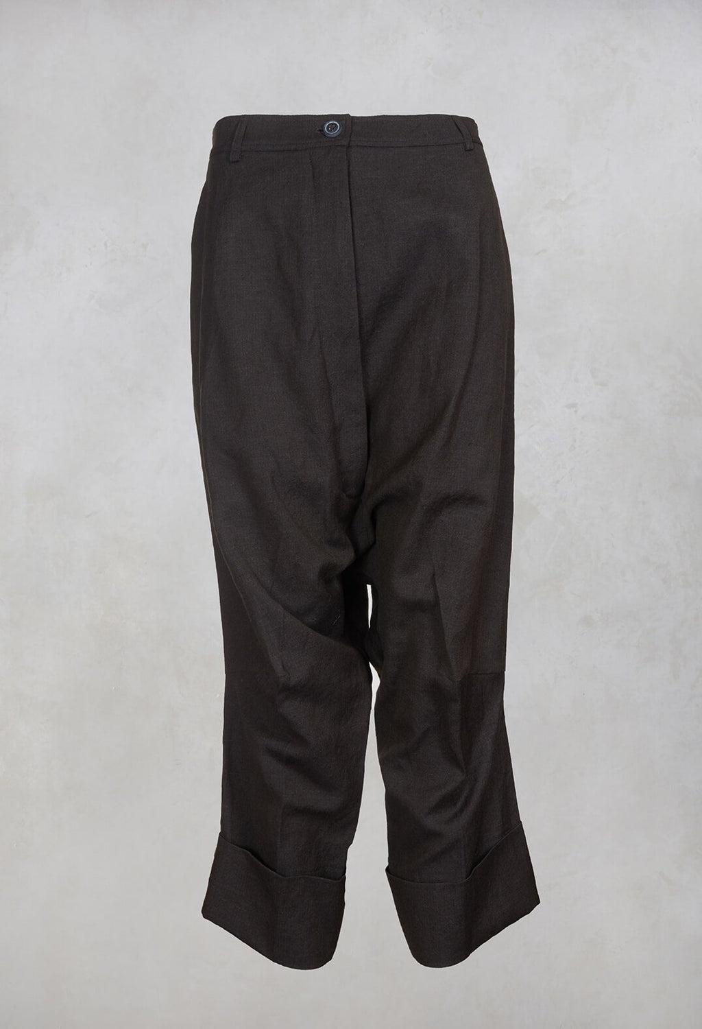 Drop Crotch Trousers in Dark Brown
