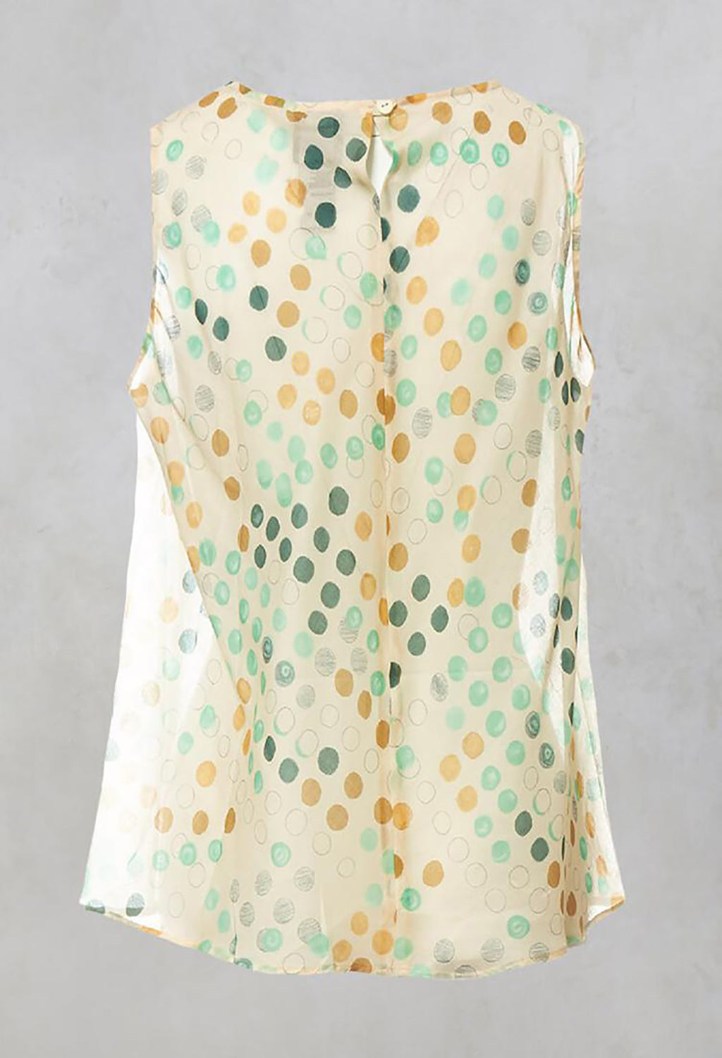 Cotton Sleeveless Top with Gathered Front with Cream and Green Spots