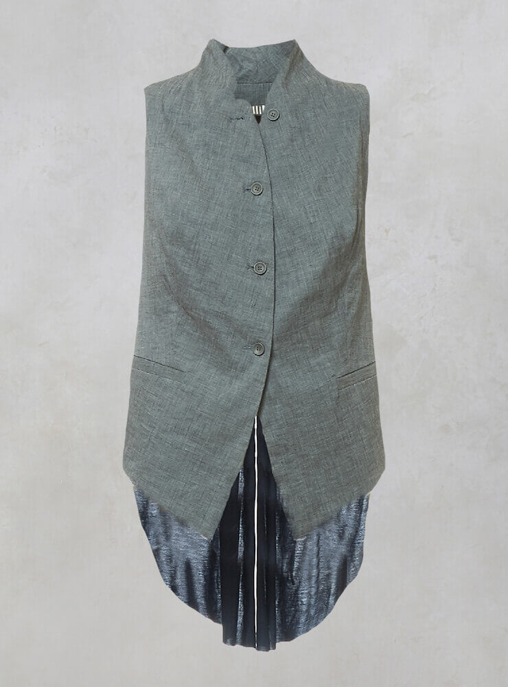 Waistcoat with Contrasting Pleated Back Panel in Blue