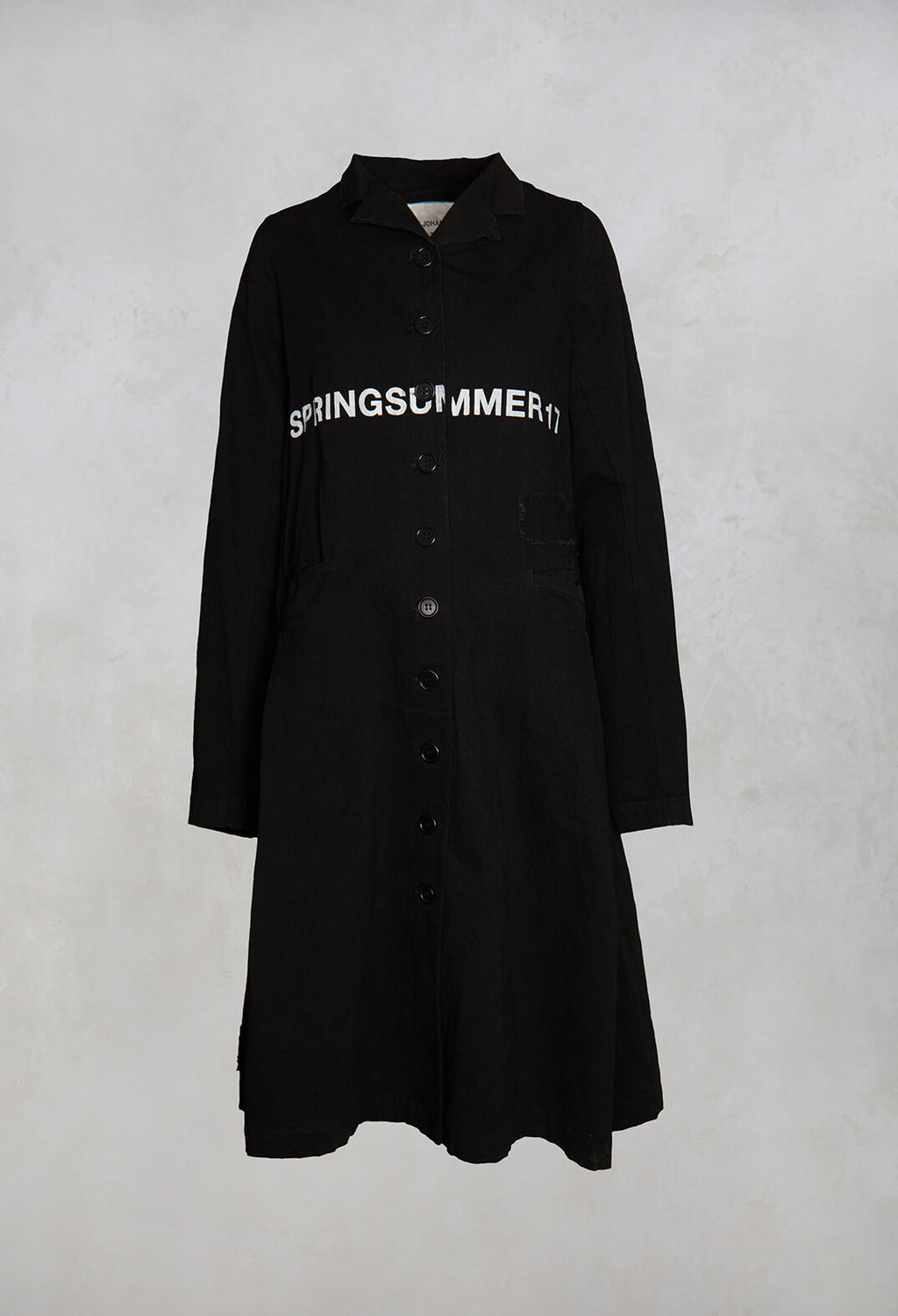 Fatima Coat with Text in Black Printed