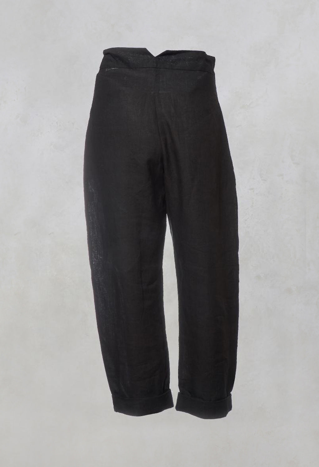 Straight Leg Trousers with Tie Front in Black