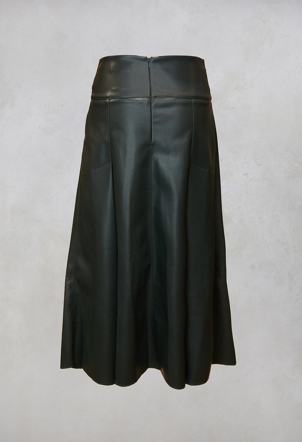 Faux Leather Skirt in Peacock Green