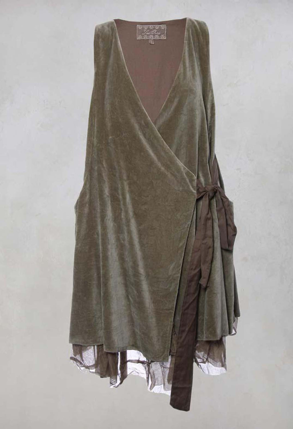 Florie Wrap Dress in Velours Olive
