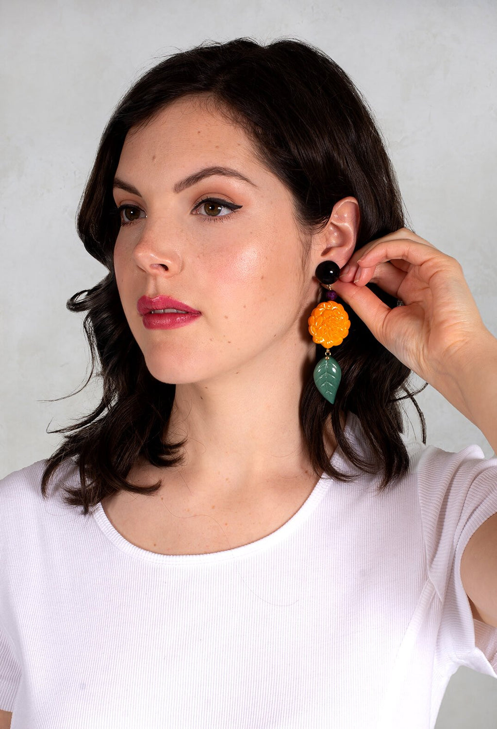 Frida Kahlo Eardrops in Yellow