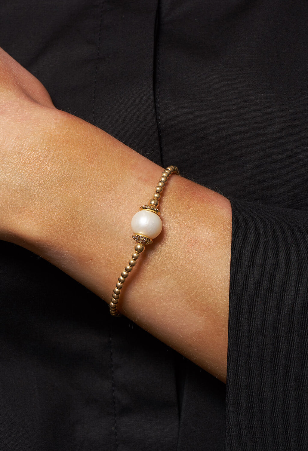 Gold 3mm Balls with Cubic Zircon and Pearl Bracelet in Gold
