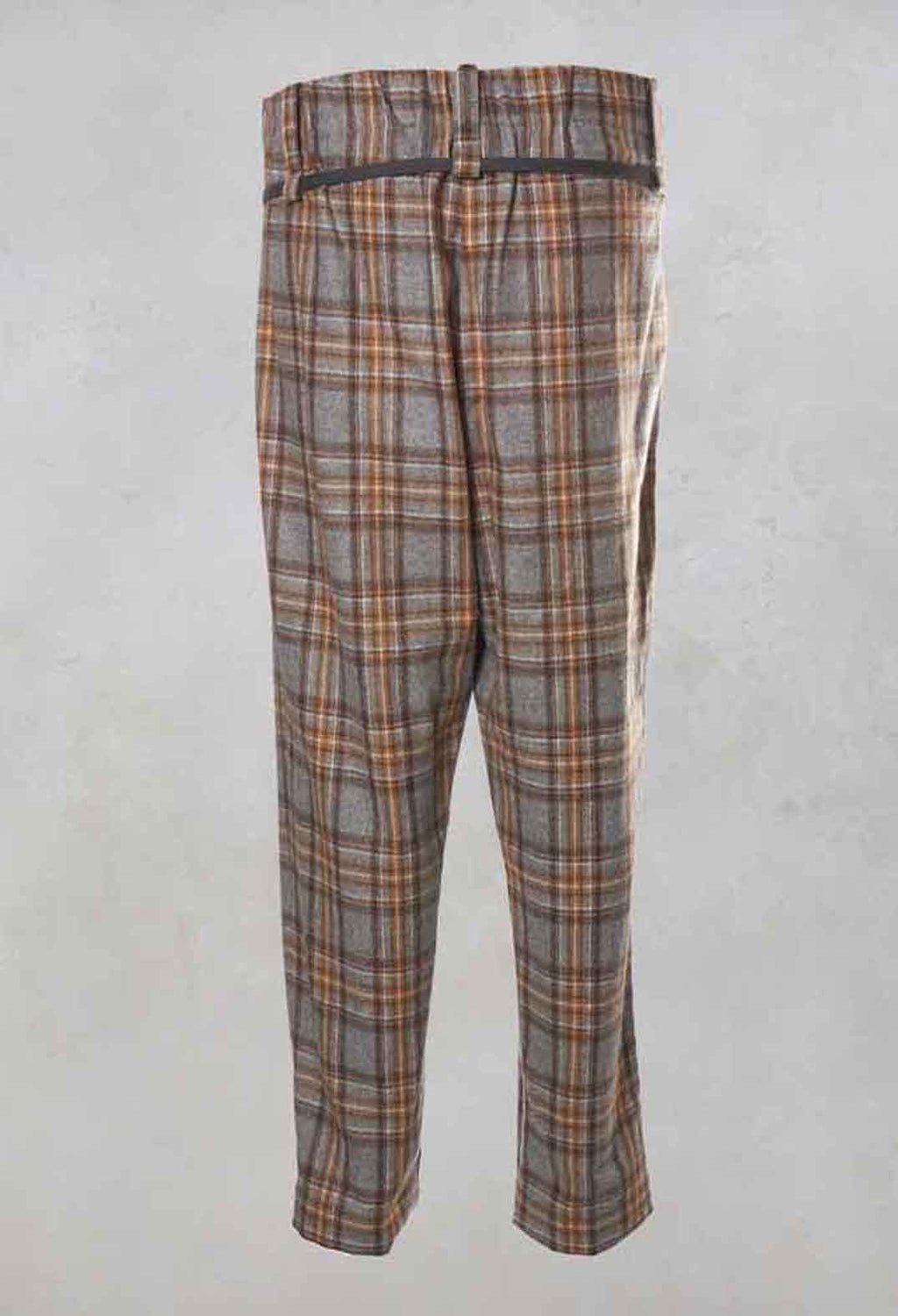 High Waisted Check Trousers in Grey