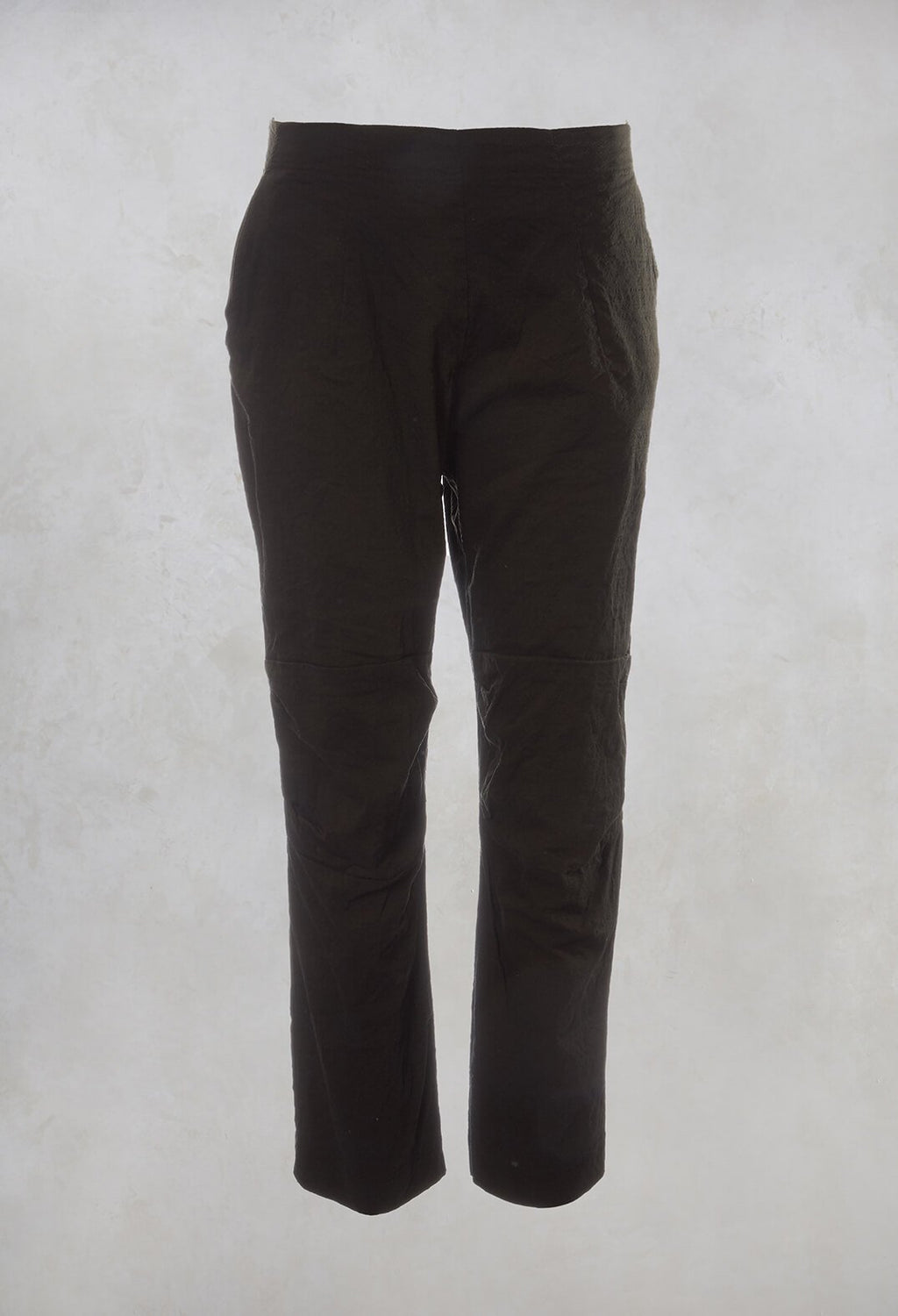 High Waisted Straight Leg Trousers in Dark Olive