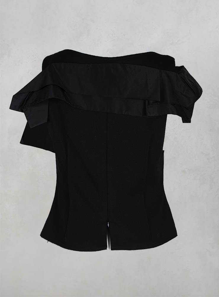 Structured Top with Pleated Shoulder and Zip in Black