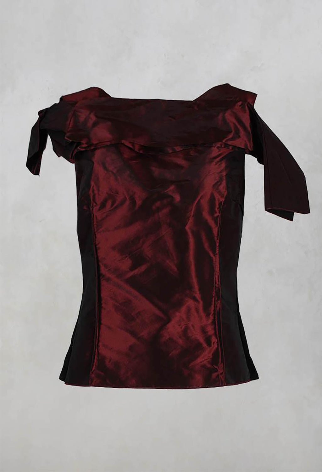 Structured Top with Pleated Shoulder and Zip in Burgundy