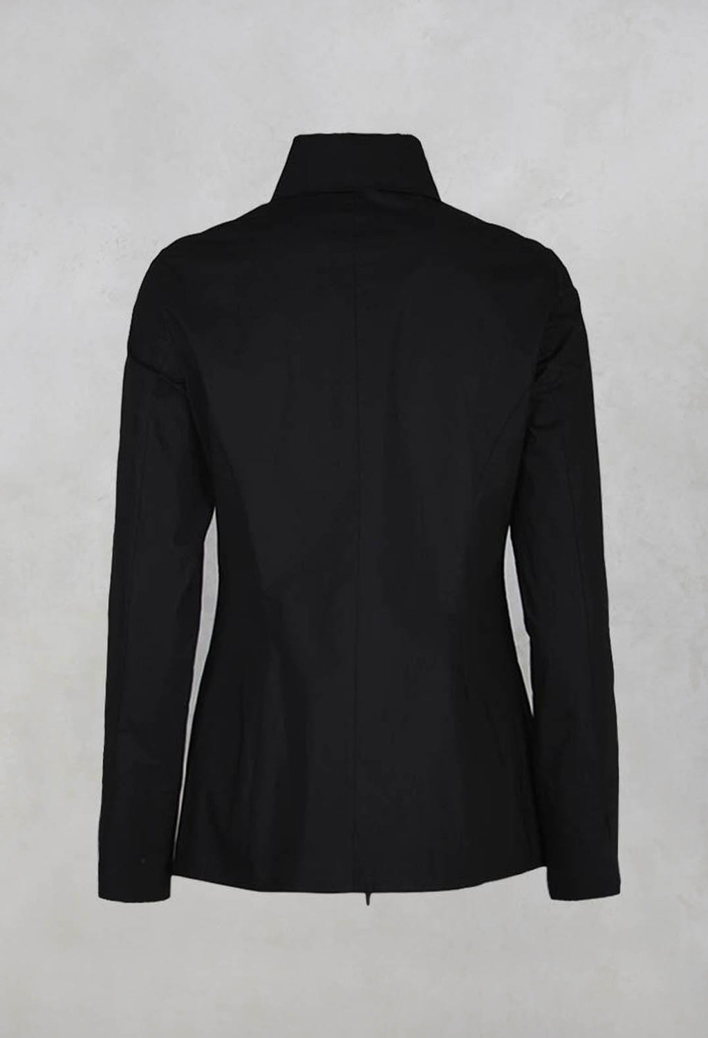 Long Sleeved Blouse with Zip Detail in Black