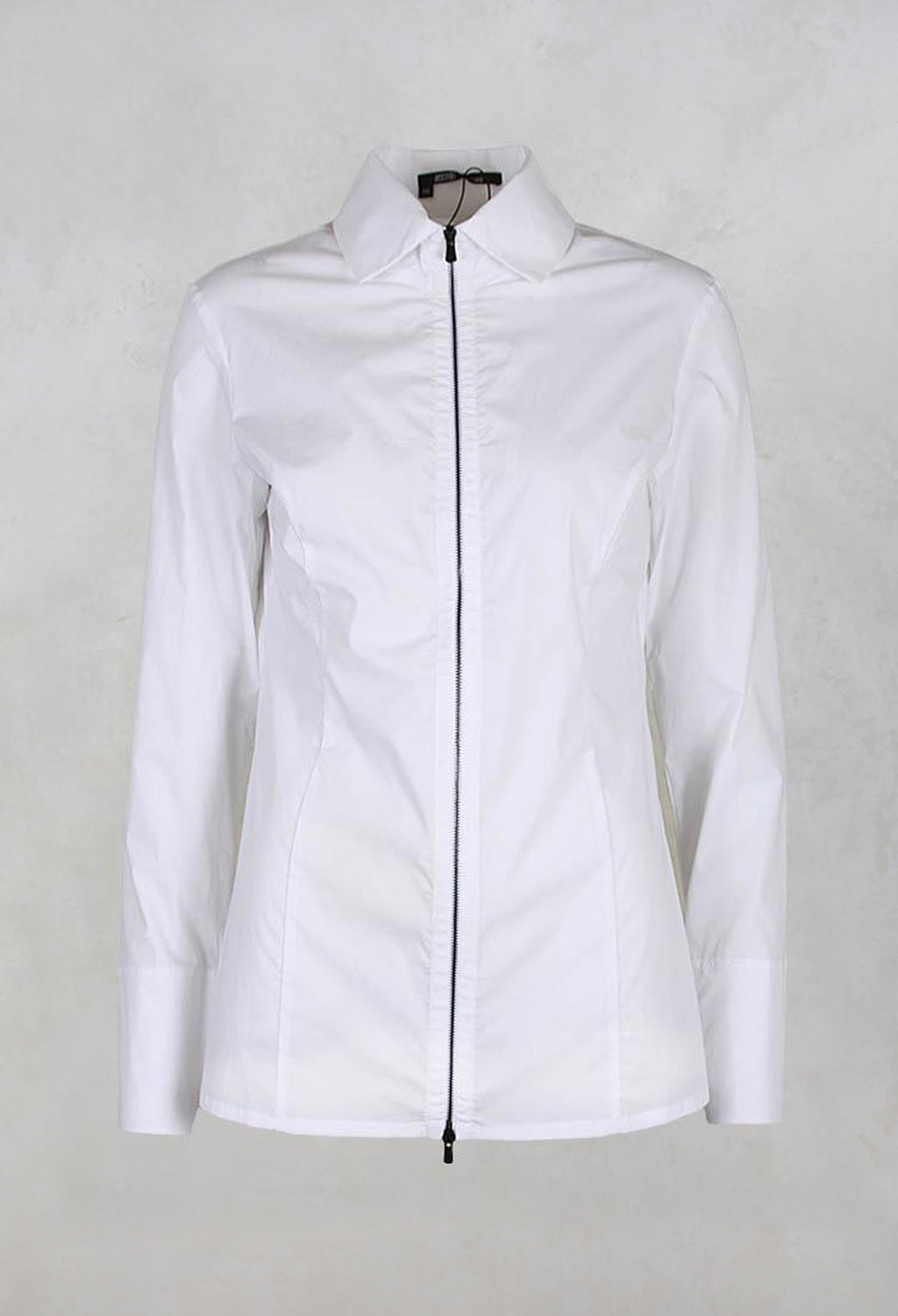 Long Sleeved Blouse with Zip Detail in White