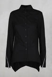 Asymmetric Blouse with Button Front in Black
