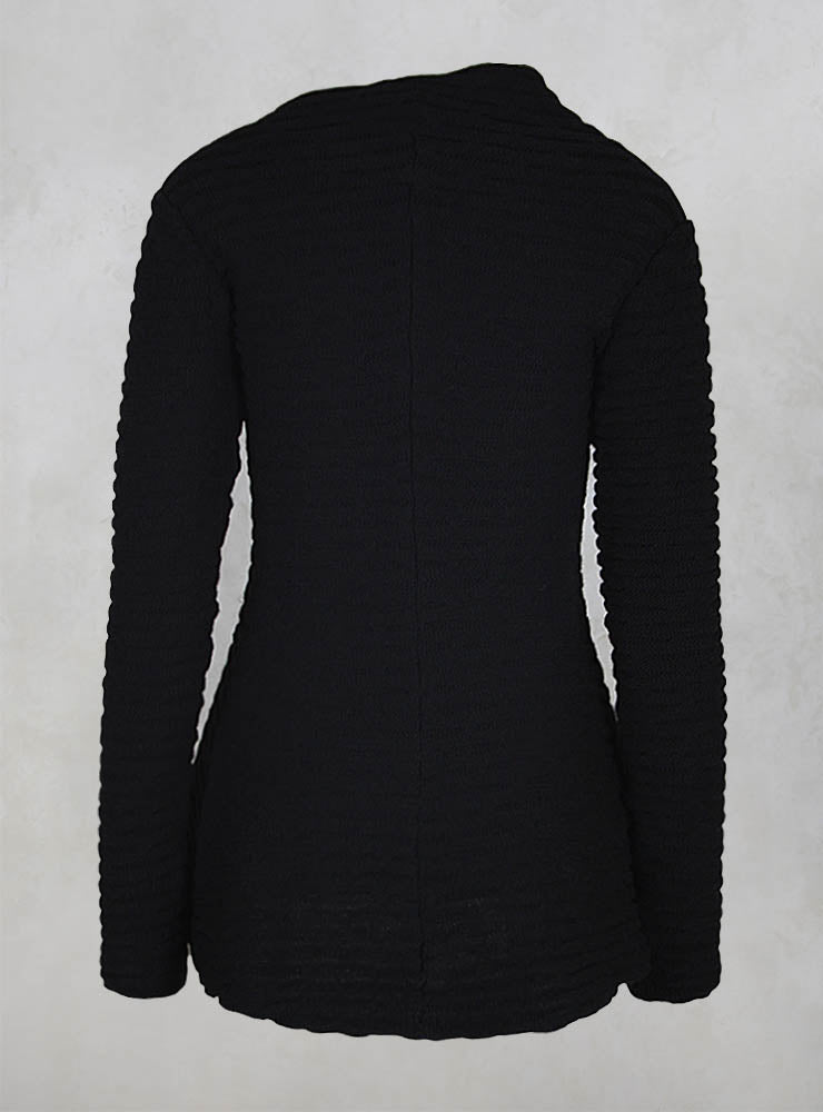 Long Sleeved Flared Knitted Jumper in Black