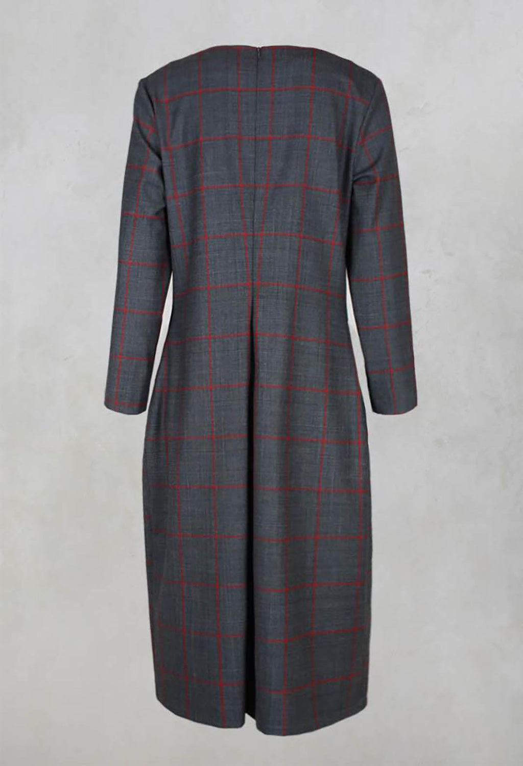 Checked Shift Style Trapeze Dress with Pockets in Smoke