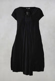 Flared Dress with Bow Detail in Black Velvet