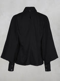 Shirt with Flared Puff Sleeves in Black