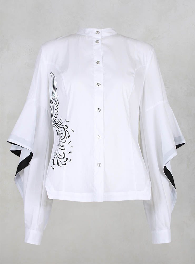 Printed Shirt with Cut Out Sleeves in White