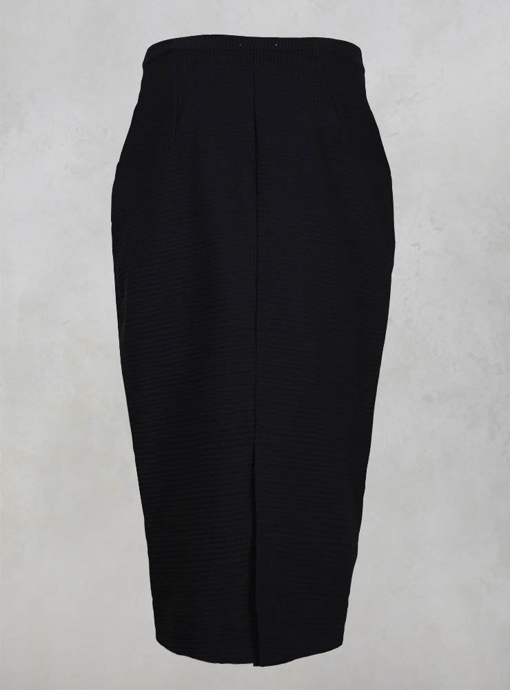 Stretch Waffle Effect Skirt in Black