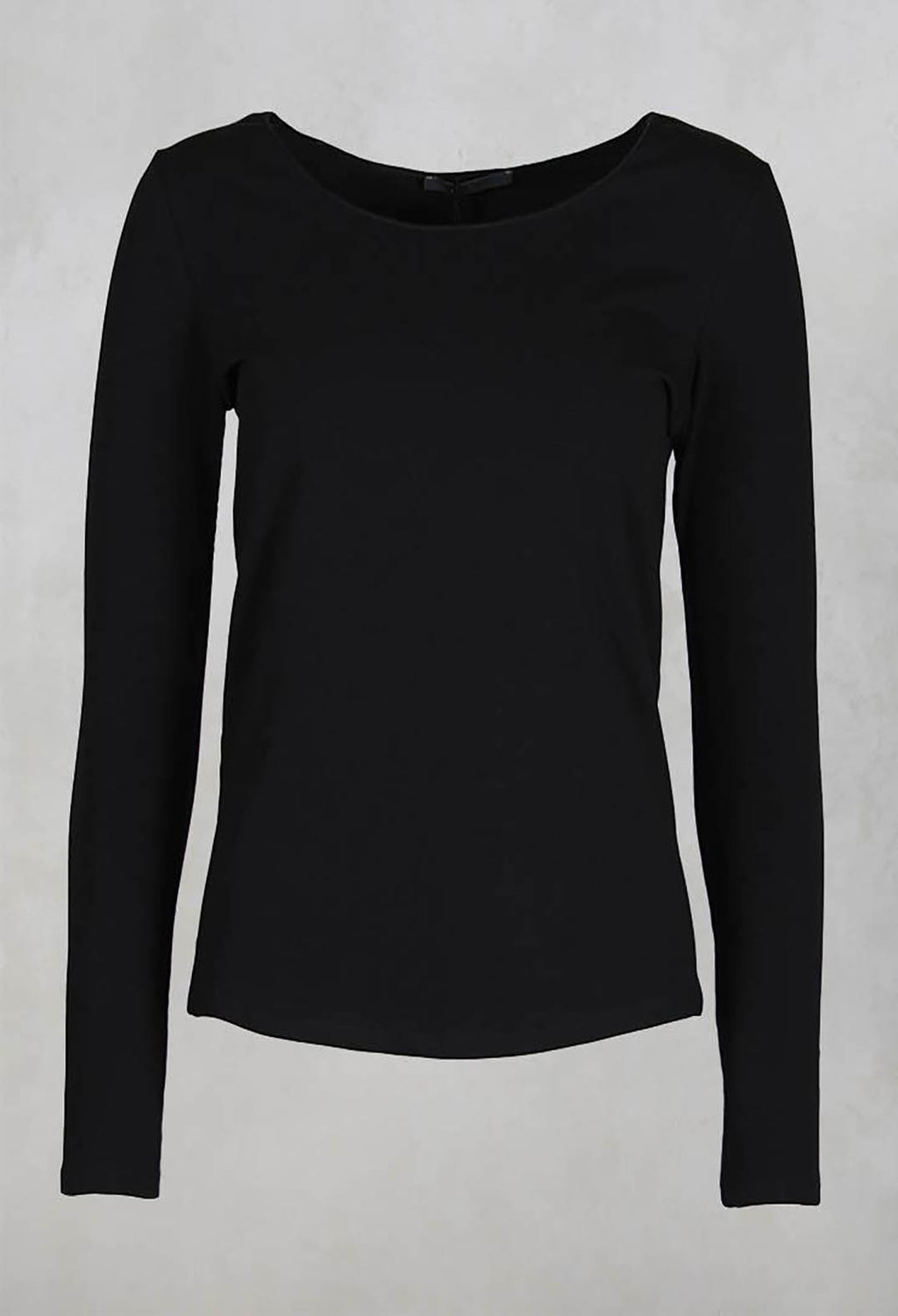 Stretch Jersey Long Sleeved Top in Black