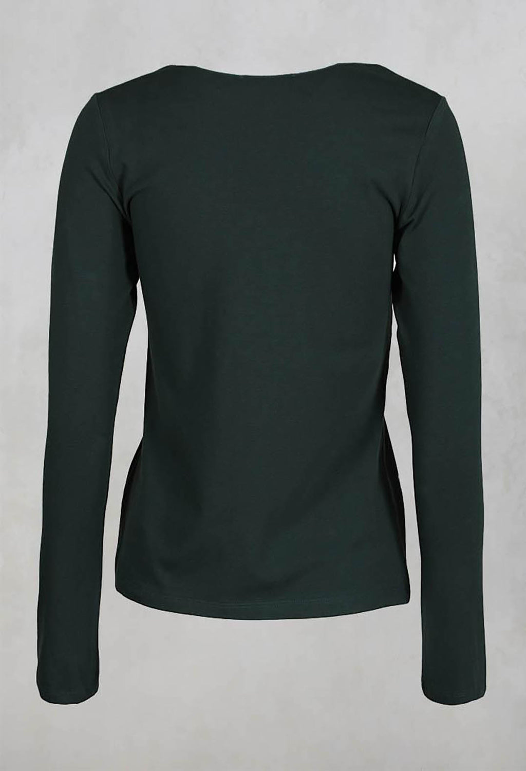 Stretch Jersey Long Sleeved Top in Dark Green