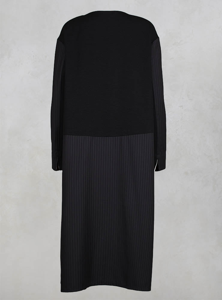 Long Sleeved Patchwork Dress in Black/Grey