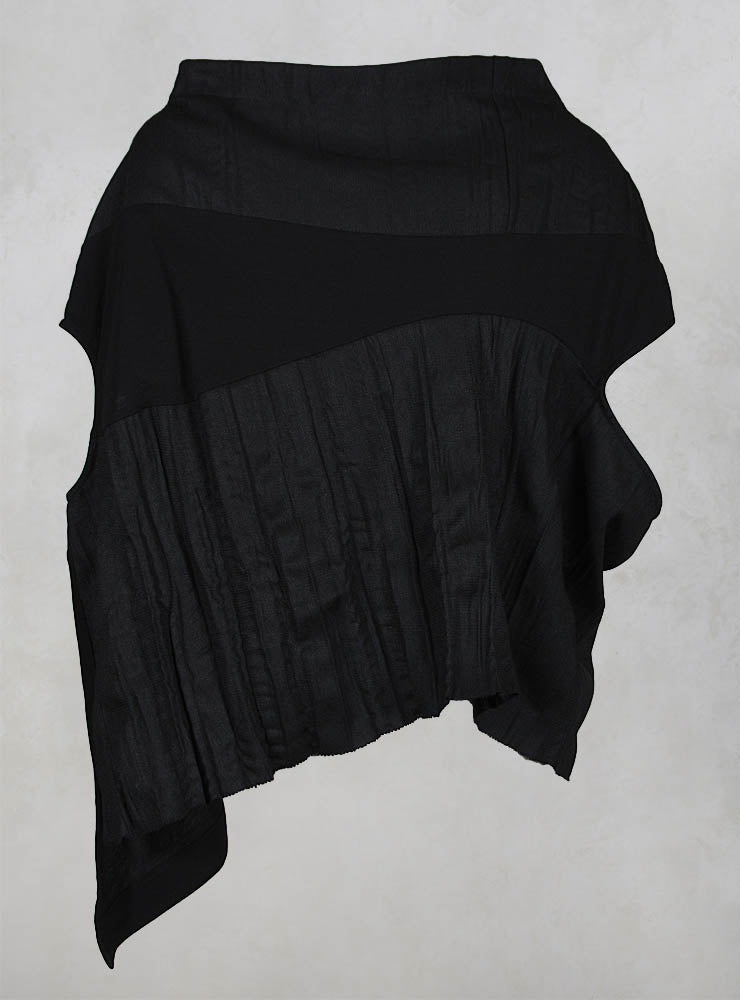 Textured Top with Cowl Neck in Black/Grey
