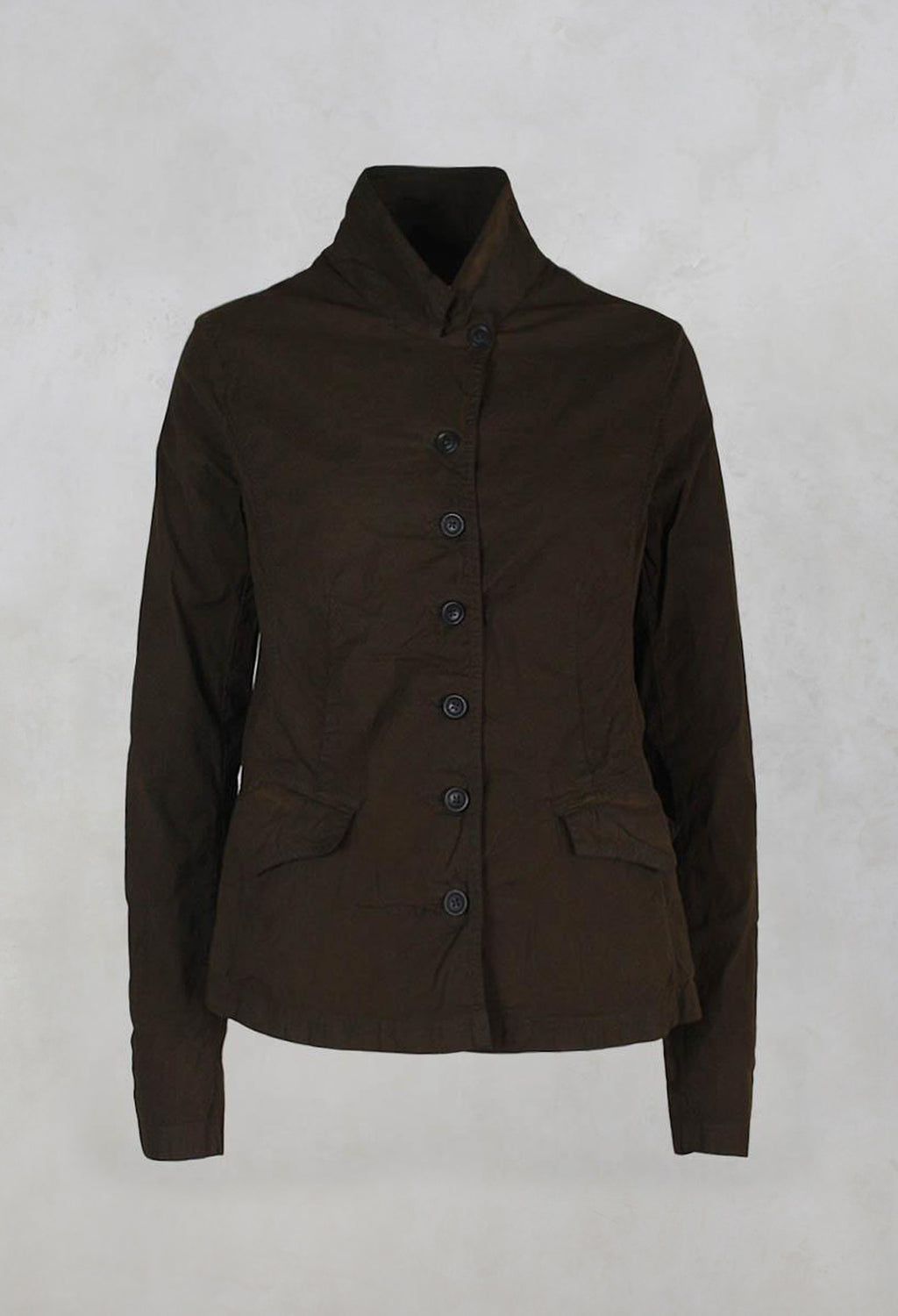 Military Style Jacket with Button Front in Khaki