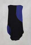 Pleated Sleveless Okaza Dress in Black/Purple