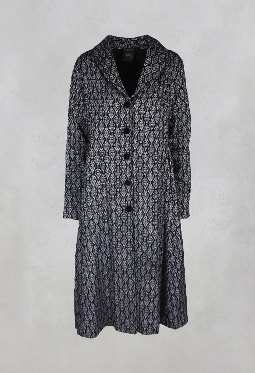 Long Patterned Coat in Black