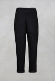 Long Trousers with Button Up Front in Noir