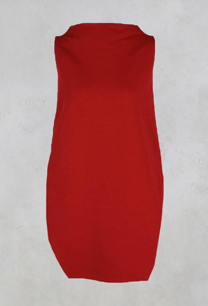 Sleeveless Shirt with Side Slits in Red