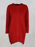 Long Sleeve Tulip Shape Shirt with Zips in Red