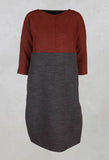 Dress with 3/4 Sleeves in Brown/Burnt Orange