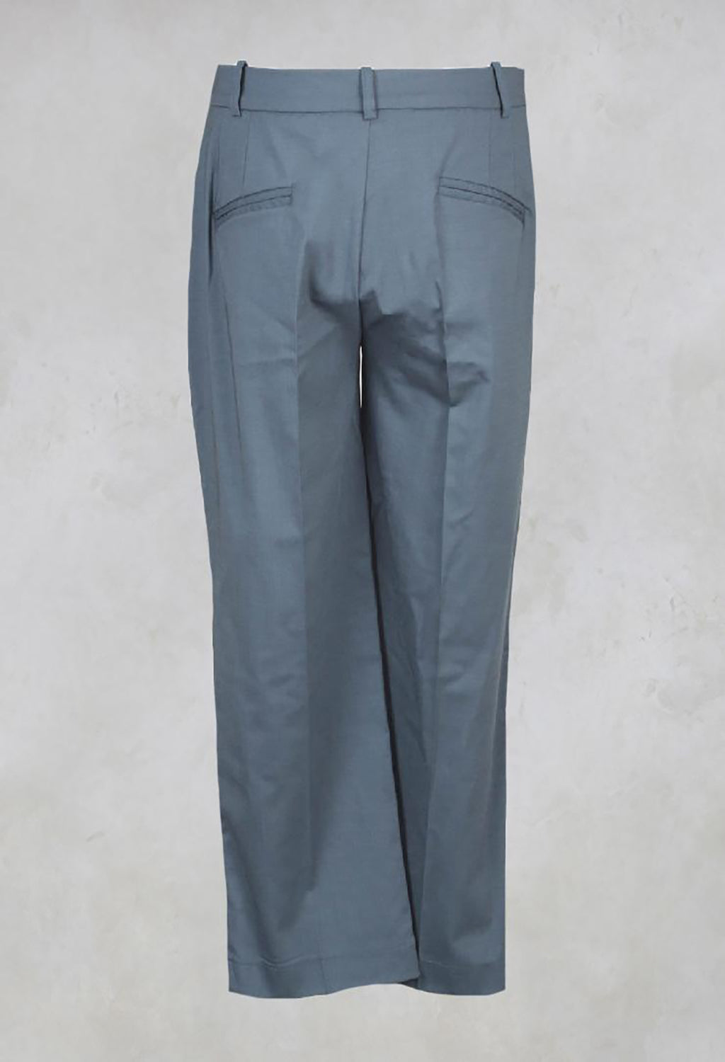 Trousers with Button at Waistband in Lagoon Blue