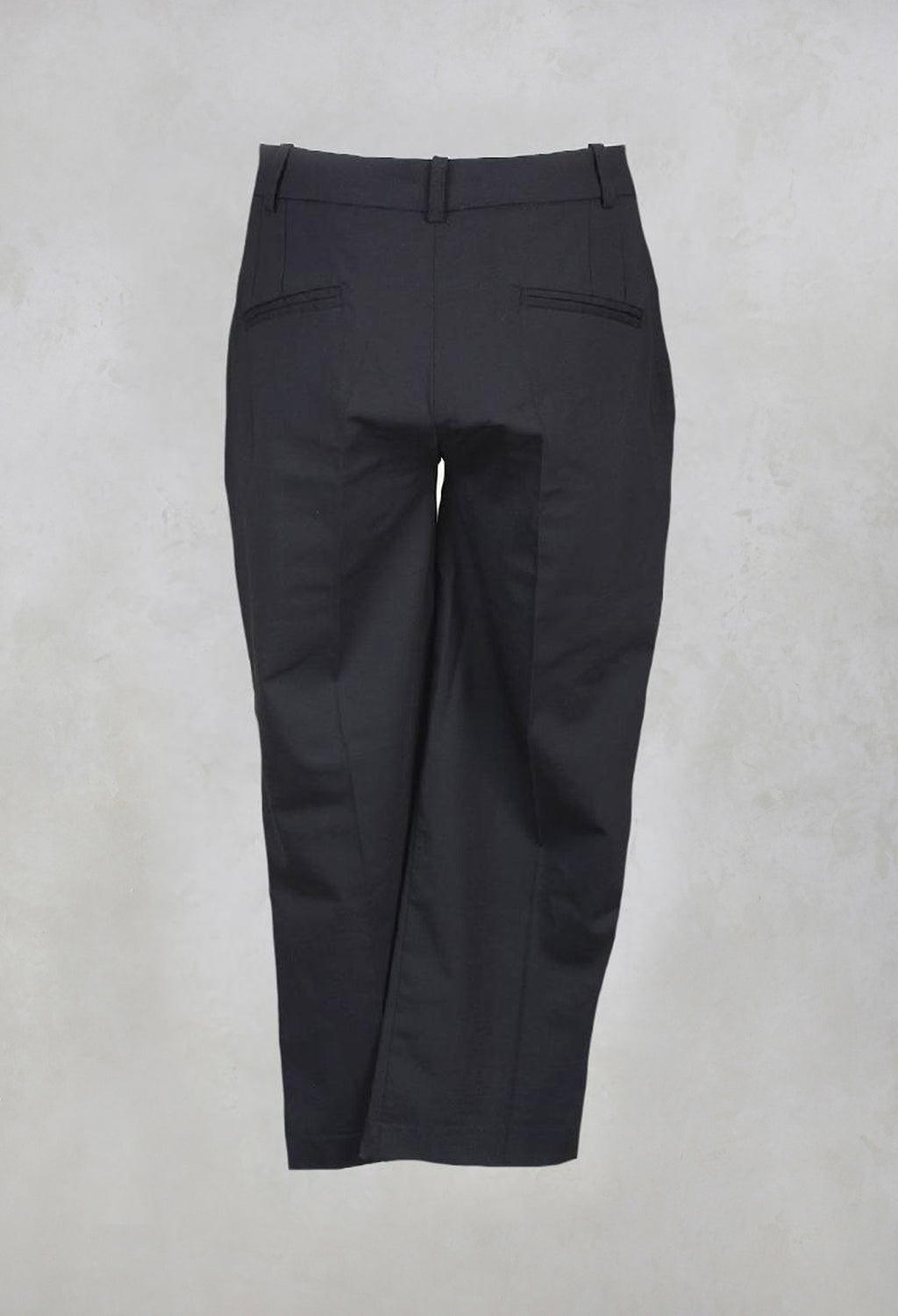 Trousers with Button at Waistband in Black