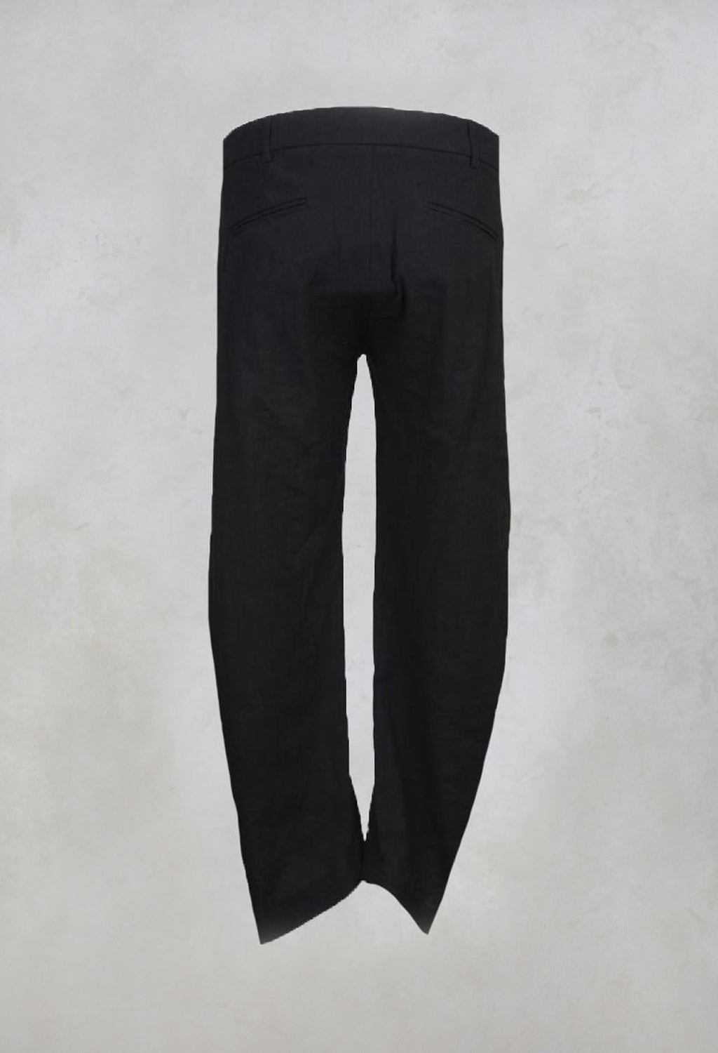 Trousers with Open Hem and Buttons in Black