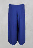 Wide Leg Trousers with Tulip Hem in Electric Blue