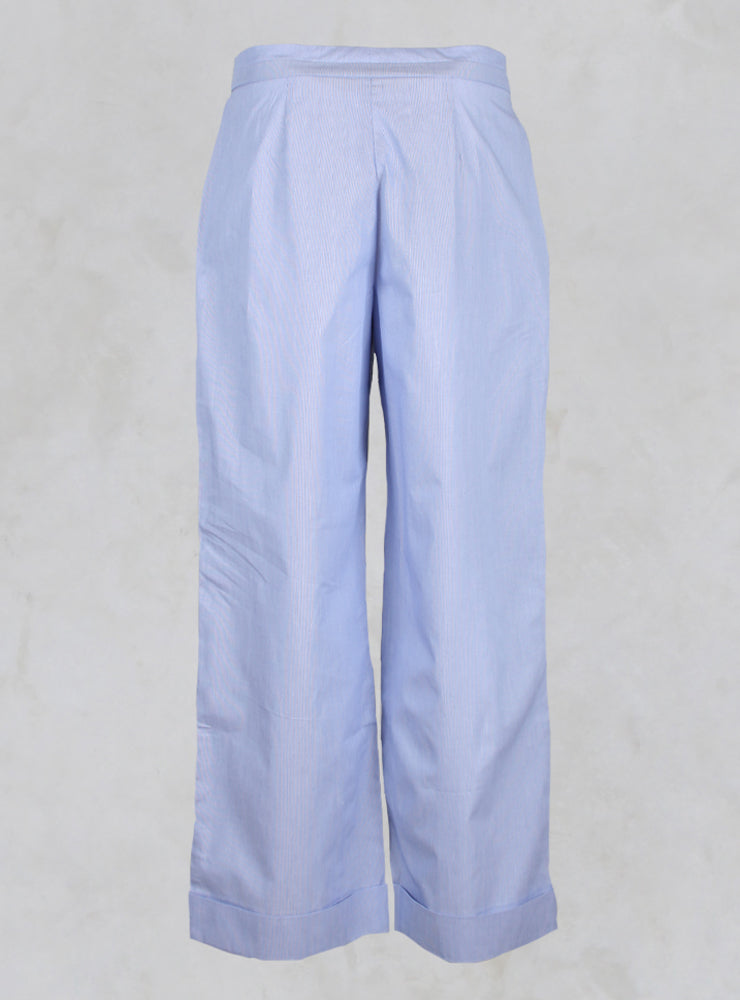 Wide Leg Trousers with Buttons in Blue Pinstripe
